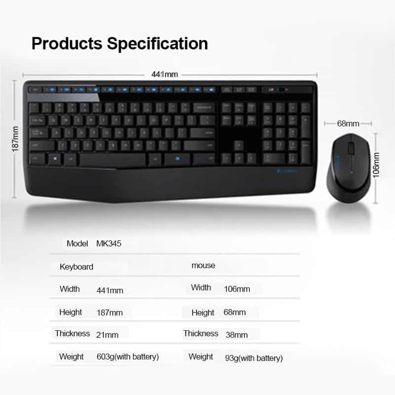 c1332022ca8 Logitech Wireless Combo with Full-Size Keyboard and Right-Handed ...